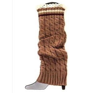 NWT Lace Trim Leg Warmers | Khaki